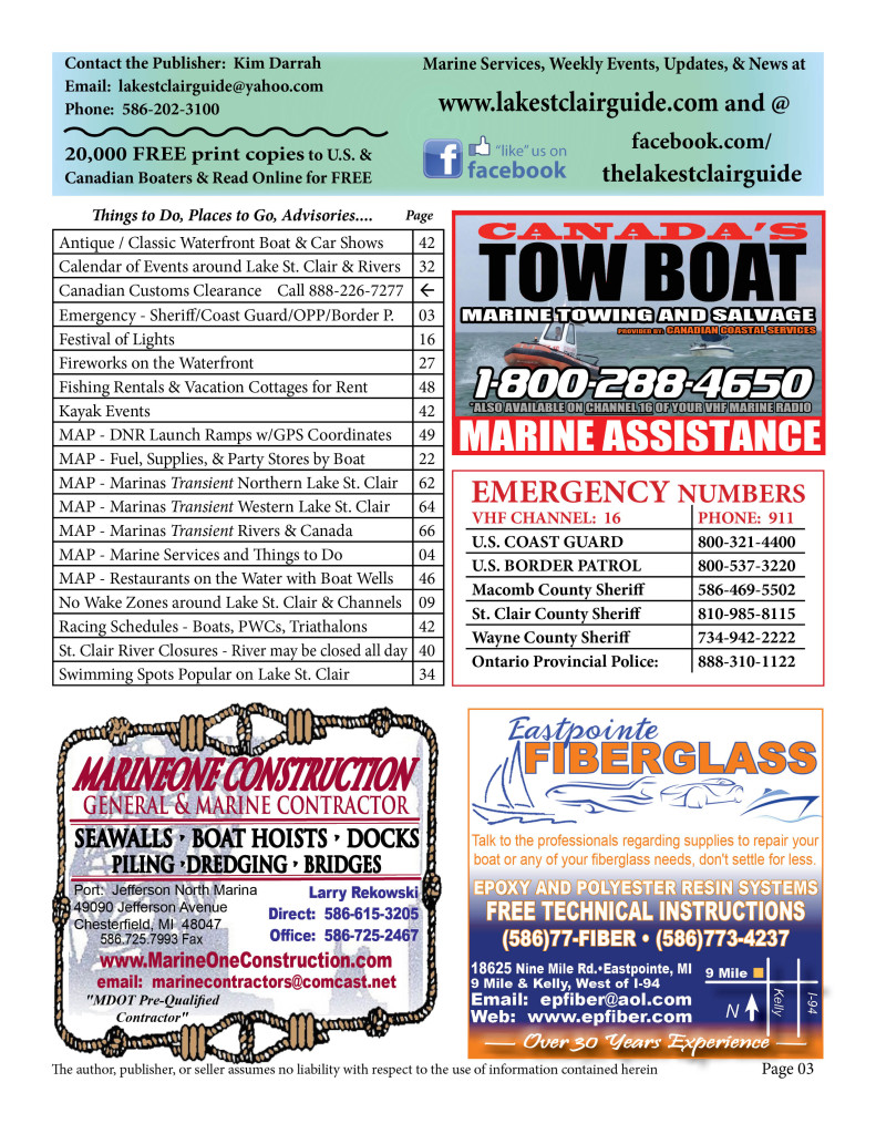 Page 03 2015 Lake St Clair Guide
